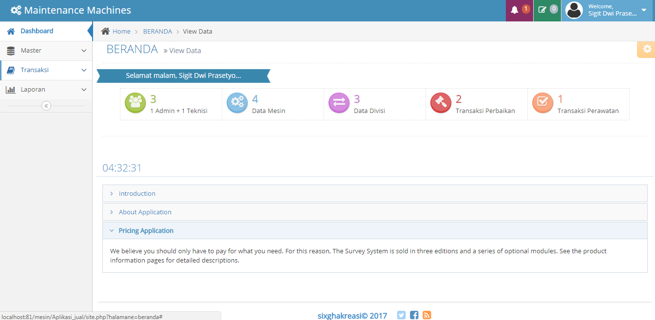 Tampilan Dashboard aplikasi perawatan dan pemeliharaan mesin PHP