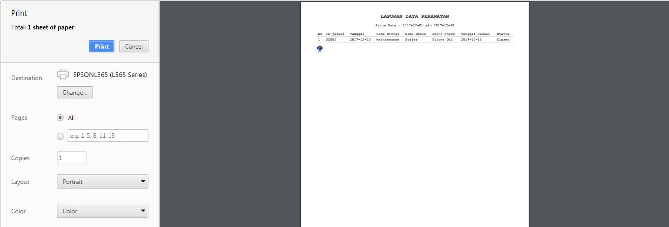 Tampilan report aplikasi perawatan dan pemeliharaan mesin PHP