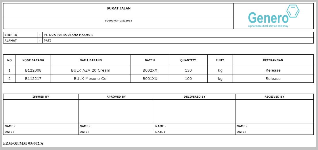 Contoh Nota Retur E Faktur Excel