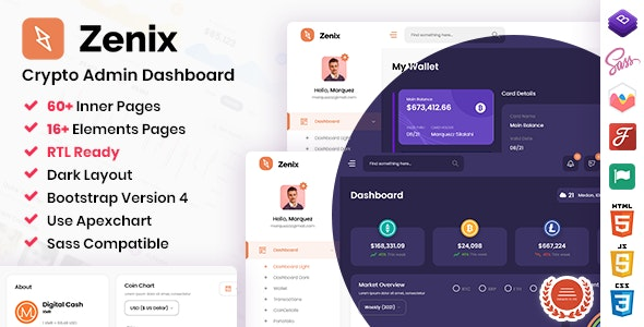 Admin & Dashboard Template Bootstrap Zenix