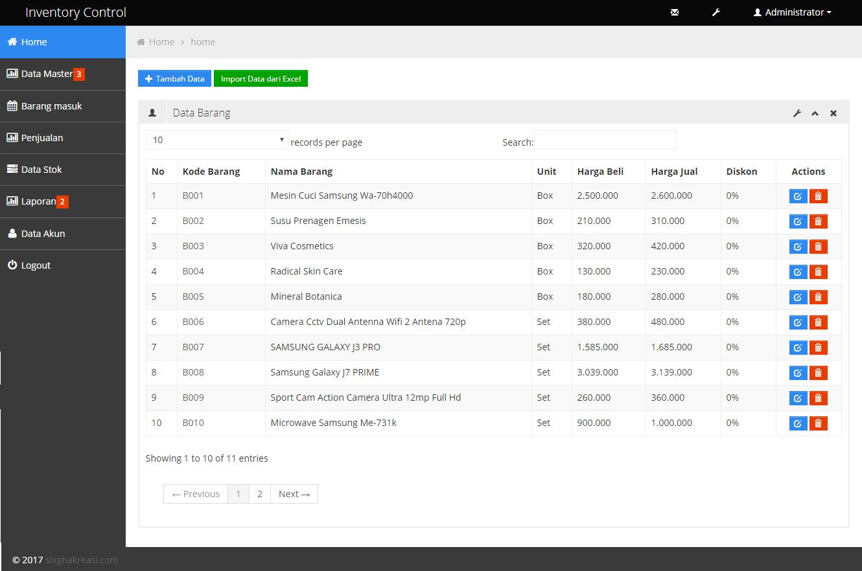 Tampilan Form Data Barang Aplikasi Inventori Berbasis Web