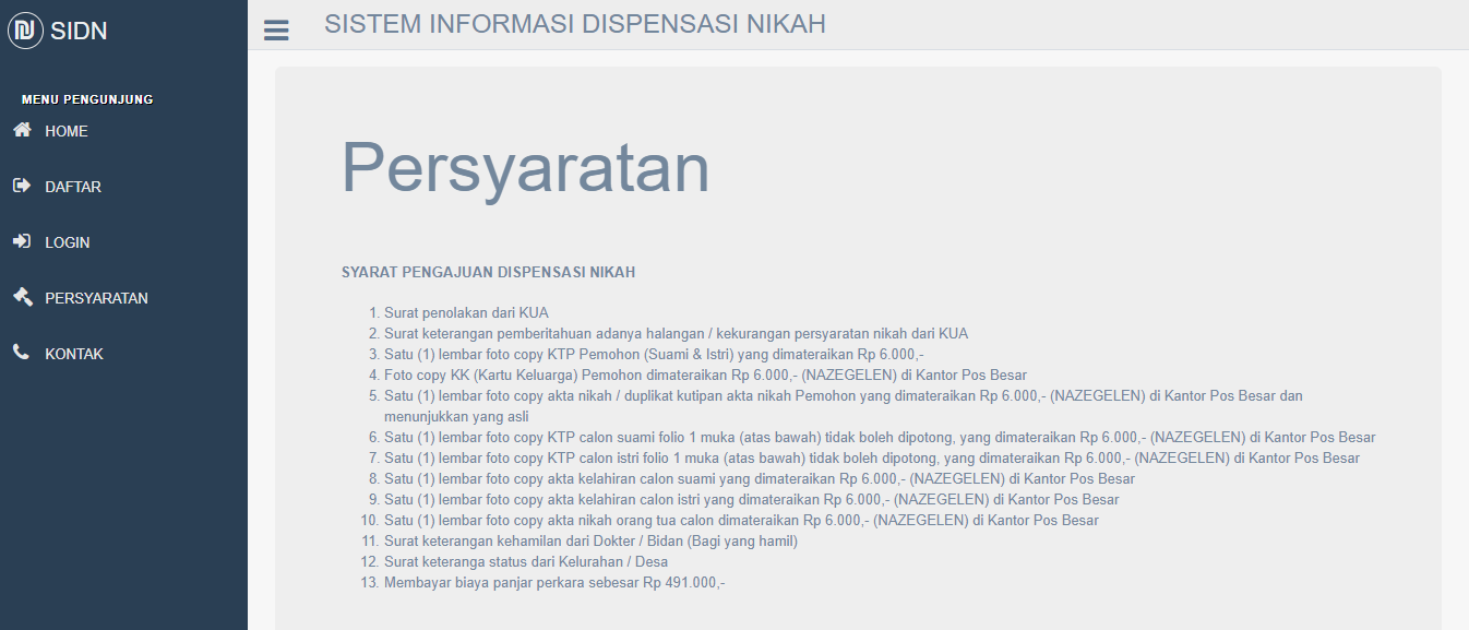 Aplikasi Permohonan Surat Dispensasi Nikah Berbasis Web