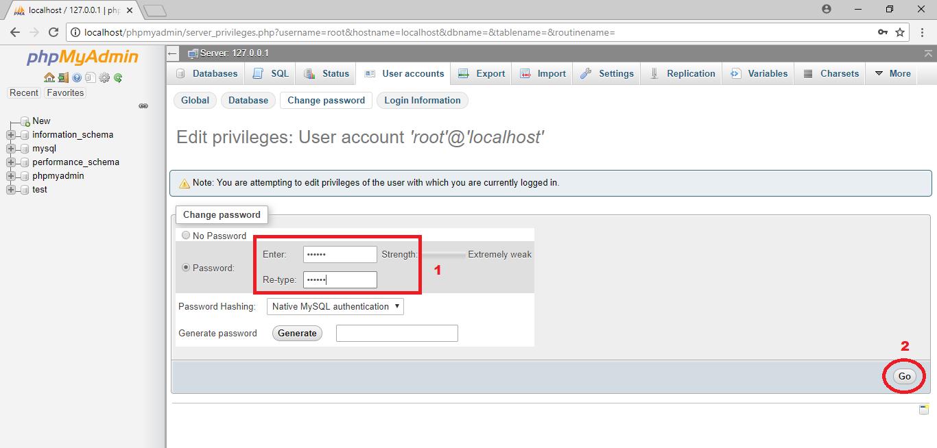 Cara password xampp