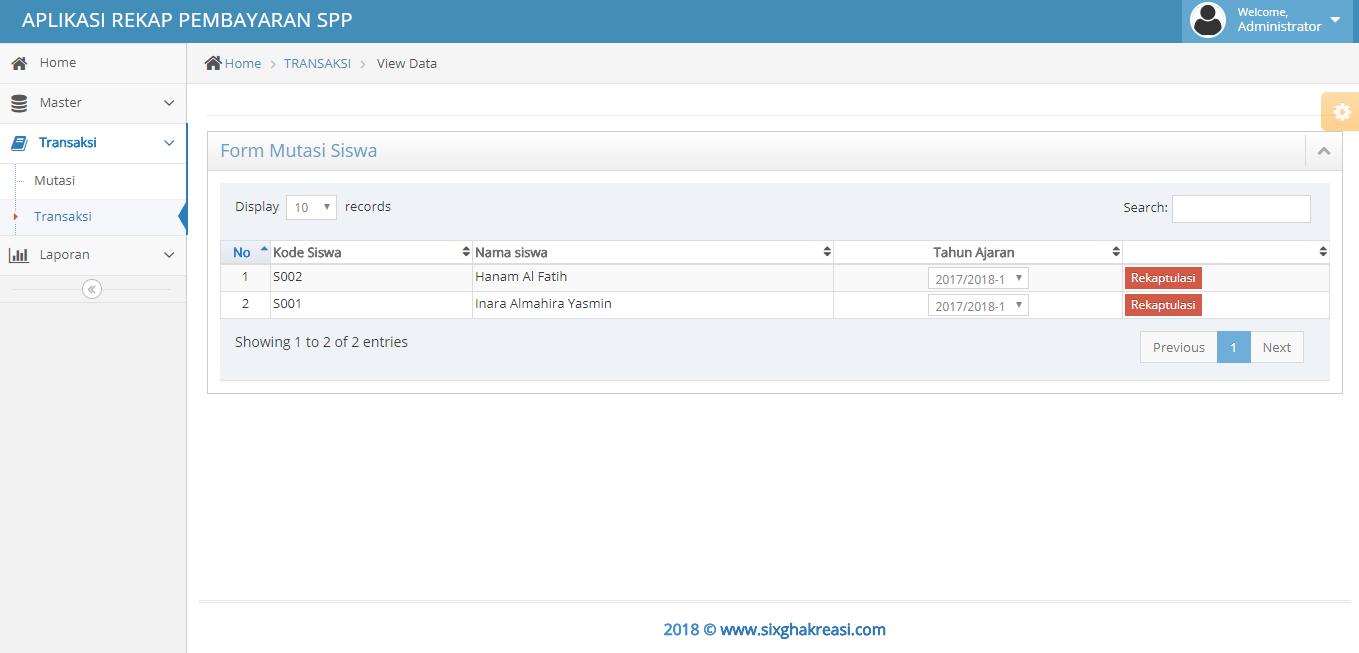 Tampilan aplikasi rental mobil web