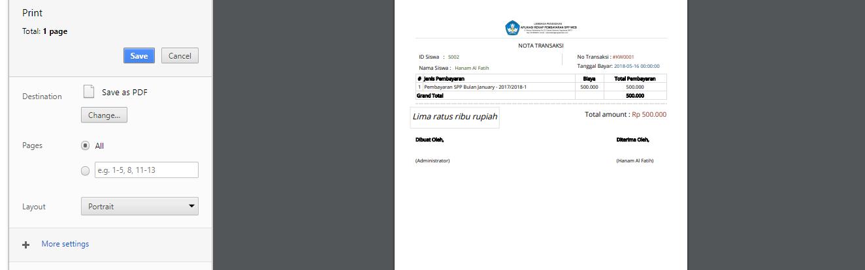 Tampilan aplikasi Rakap Pembayaran SPP