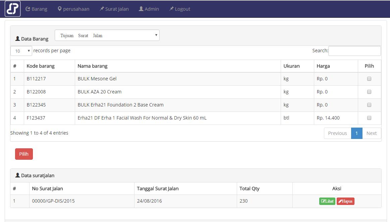 Aplikasi Form Surat Jalan Berbasis WEB